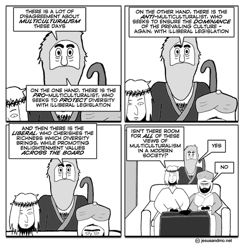 Jesus and Mo discuss multiculturalism, inspired by debate on the Moral Maze
