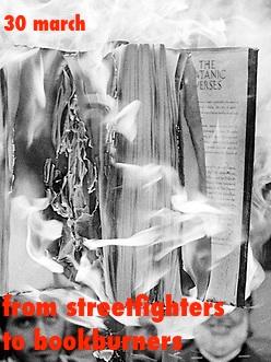 Satanic Verses book burning. Bradford, UK. 14 January 1989.
