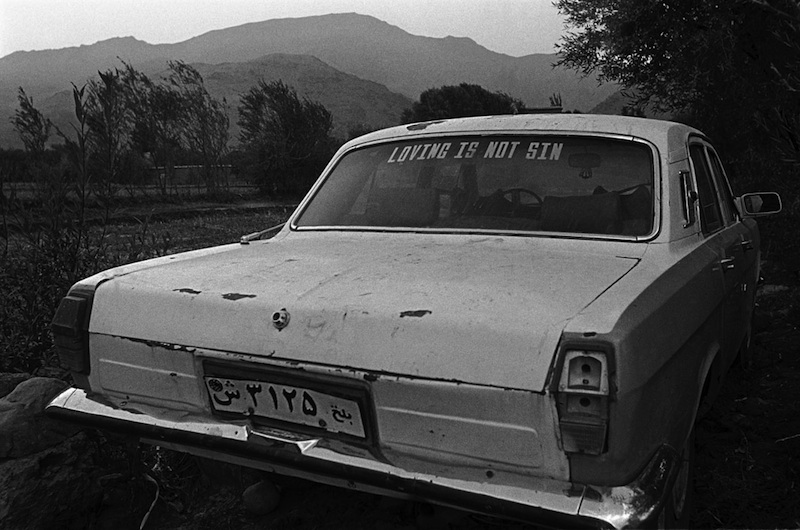 Gulbahar, Kapisa Province. November 2001 A car parked in a field