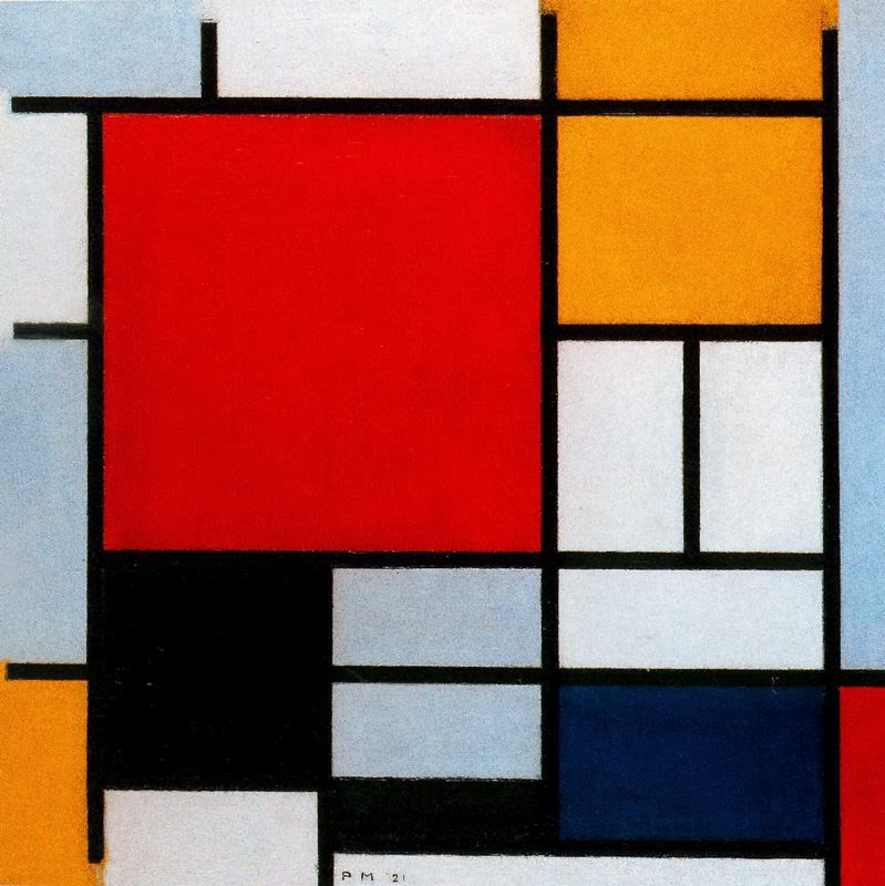 Mondrian composition in red yellow and blue