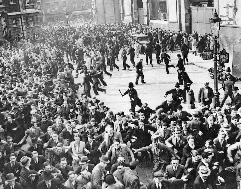 Riots between anti-Fascists and Blackshirts (British Fascists) in London