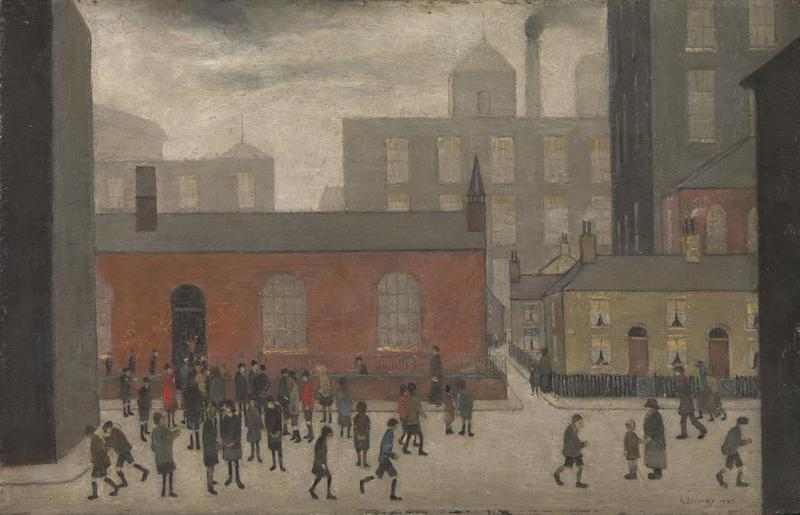 Coming Out of School 1927 by L.S. Lowry 1887-1976