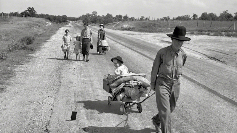 Lange Family walking on highway, five children