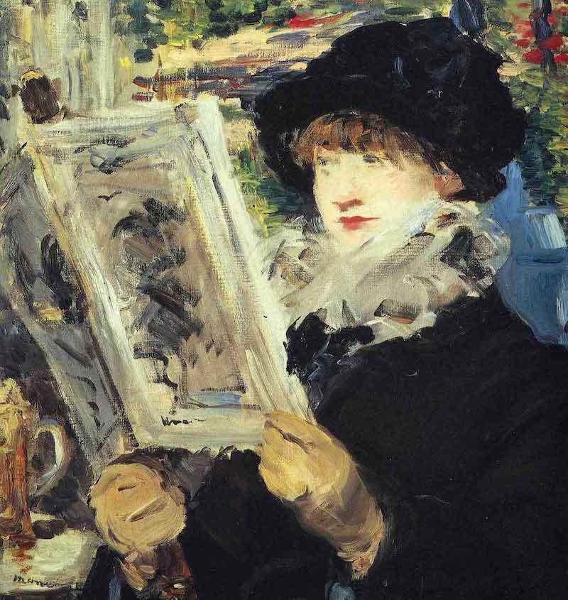 Edouard Manet Woman Reading in Cafe de Flore, Paris