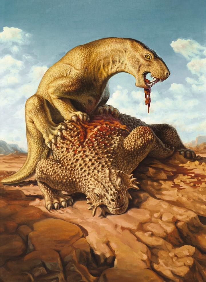 Alexei Petrovich Bystrow Inostrancevia devouring a Pareiasaurus