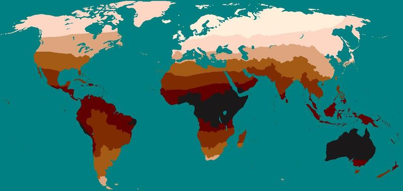 Global distribution of skin color