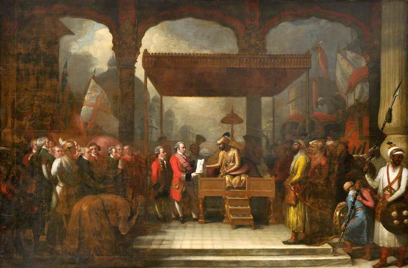 West, Benjamin, 1738-1820; Shah 'Alam, Mughal Emperor (1759-1806), Conveying the Grant of the Diwani to Lord Clive, August 1765