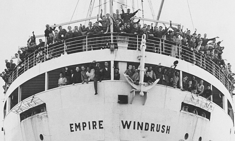 Jamaican immigrants arriving at Tilbury Dock in 1948 on the Empire Windrush.