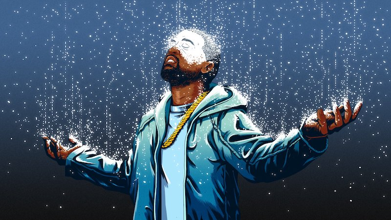Kanye West illustration to Ta-Nehisi Coates Atlantic essay