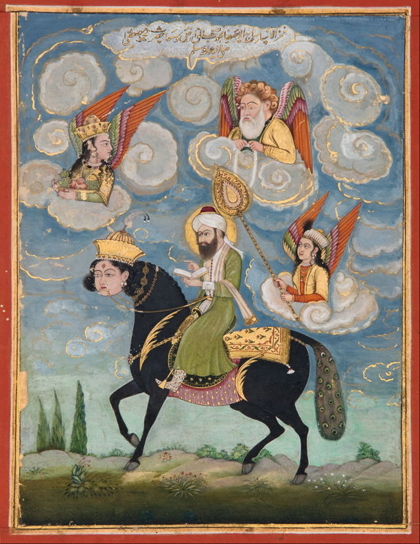 Portrait of the Prophet Muhammad riding the Buraq. 1820-30, India; Art Gallery of South Australia.