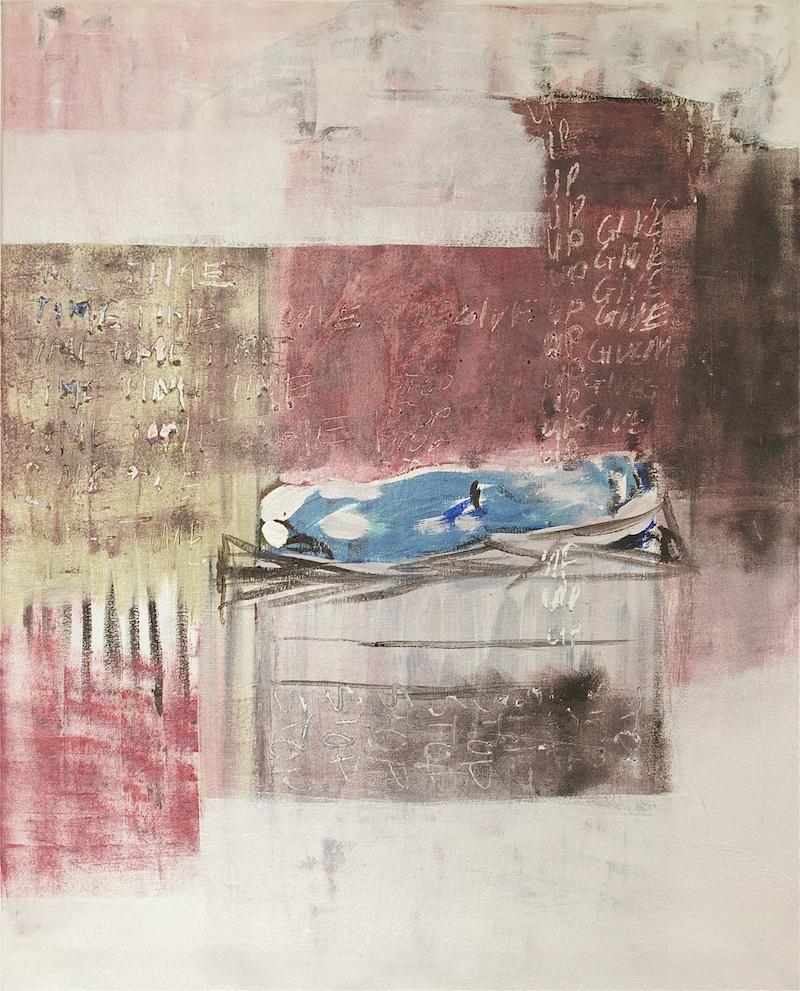 Vanessa Gould Man in a sleeping bag