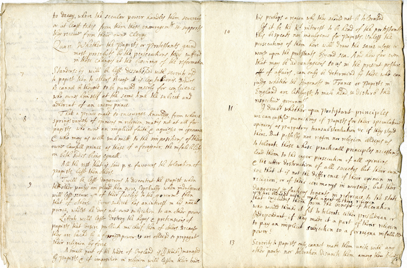 John Locke's manuscript 'Reasons for tolerating Papists equally with others'