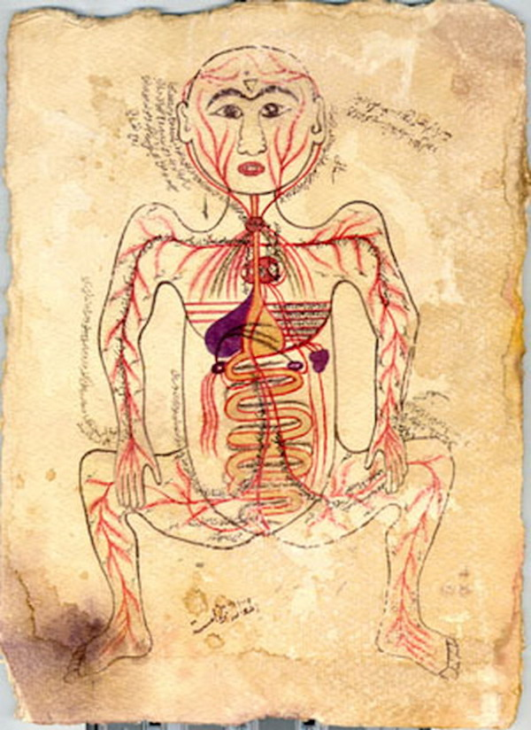 Ibn al-Nafis drawing of blood circulation
