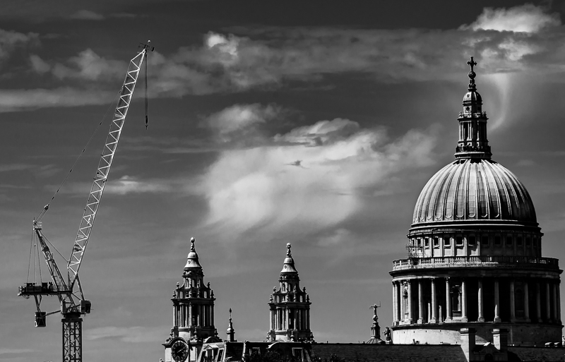 St Paul's and crane